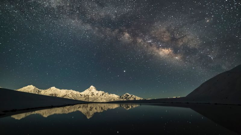 Mount Gongga, Minya Konka, China, Milky Way, Glacier mountains, Mountain peak, Starry Sky, Outer space, Astronomy, Lake, Reflection, Night time, Wallpaper
