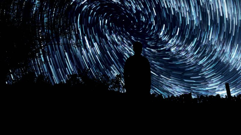 Star Trails, Standing Man, Silhouette, Long exposure, Pattern, Outer space, Night time, Astronomy, 5K, Wallpaper