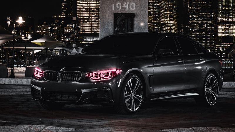 BMW M4, Black Edition, Angel Eyes, Night, City lights, 5K, Wallpaper