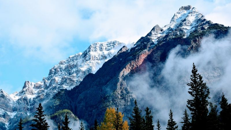 Jasper National Park, Jasper, Canada, Glacier mountains, Snowy Mountains, Cloudy, Mountain range, Mountain Peaks, Foggy, Landscape, Wallpaper