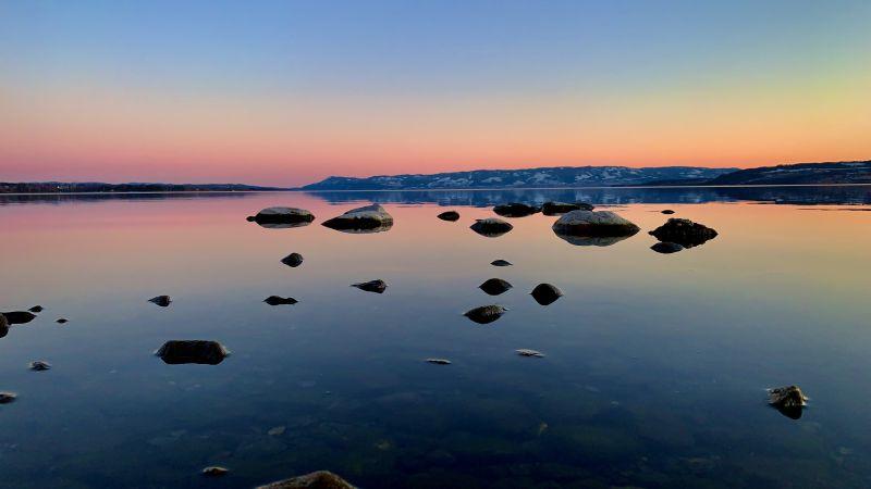 Mjøsa Lake, Norway, Sunset, Dusk, Red Sky, Clear sky, Rocks, Reflection, Landscape, Scenery, Wallpaper