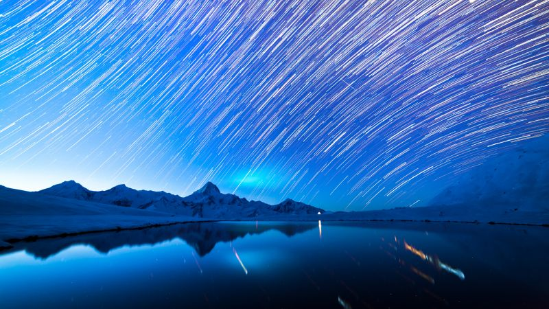 Star Trails, Astronomy, Mountain range, Mountain Peak, Glacier mountains, Snow covered, Landscape, Outer space, Lake, Reflection, Wallpaper