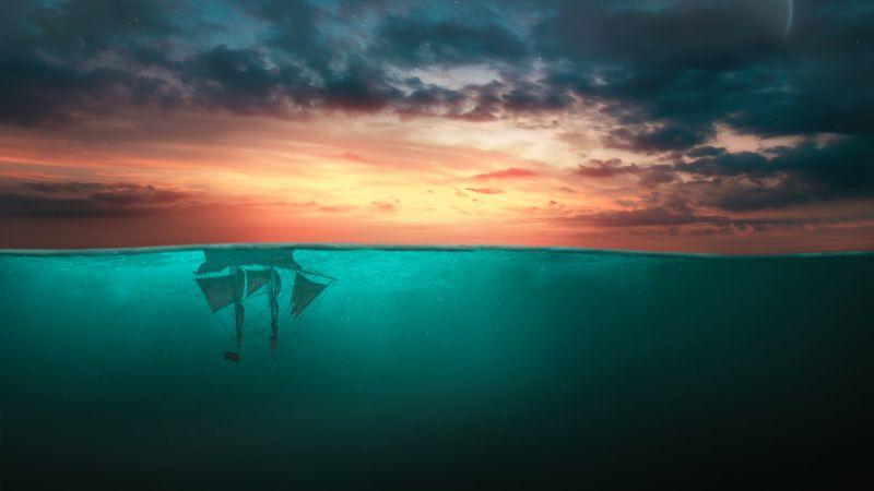 Ship, Moon, Upside down, Surreal, Cloudy Sky, Stars, Sunset Orange, Ocean, Blue Water, Wallpaper