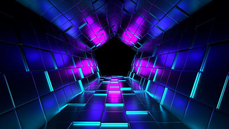 3D background, Shapes, Geometric, Pattern, Illustration, Purple, Dark blue, Vanishing point, Tunnel, Pentagon, Wallpaper