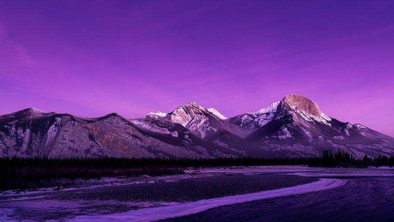Jasper National Park, Alberta, Canada, Morning glow, Purple sky, Rocky Mountains, Landscape, Long exposure, Mountain range, Scenery, Aesthetic, 5K, Wallpaper
