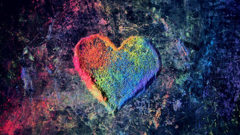 Love heart, Rainbow colors, Colorful, Chalk dust, 5K, Wallpaper