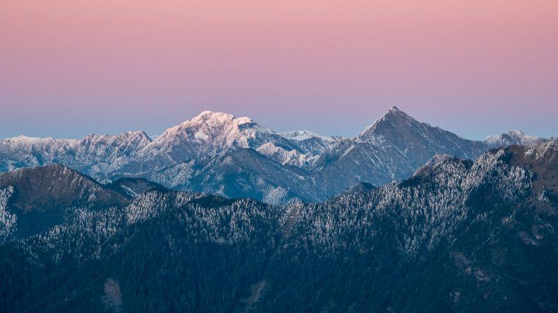 Nanhu Mountain, Taiwan, Taroko National Park, Glacier mountains, Snow covered, Pink sky, Landscape, Mountain range, Winter, Scenery, 5K, Wallpaper