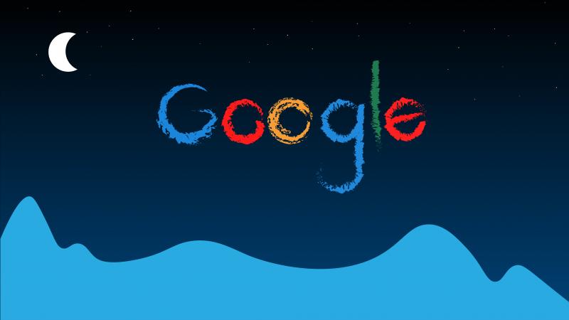 Google, Logo, Typography, Night, Crescent Moon, Half moon, 5K, 8K, Wallpaper