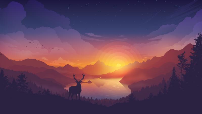 Lakeside, Evening, Deer, Minimal art, Landscape, Scenic, Panorama, Aesthetic, 5K, 8K, Wallpaper