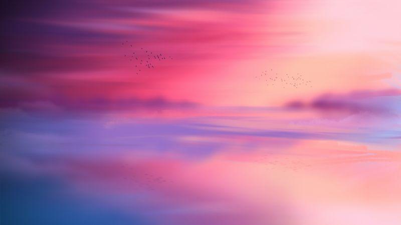 Pink sky, Horizon, Scenic, Flying birds, Seascape, Sunset, Aesthetic, 5K, 8K, Wallpaper