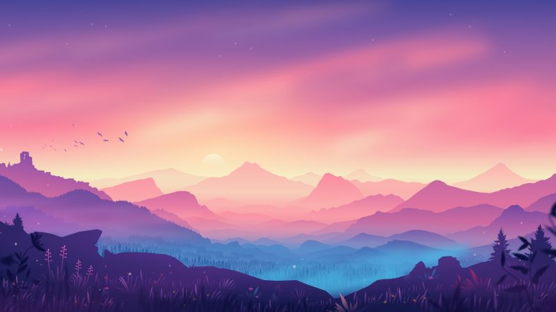 Valley, Landscape, Aesthetic, Mountains, Gradient background, Colorful background, Scenery, Layers, Panorama, 5K, Wallpaper