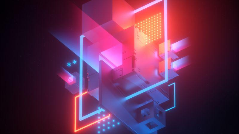 3D cubes, 3D model, Neon, Wallpaper