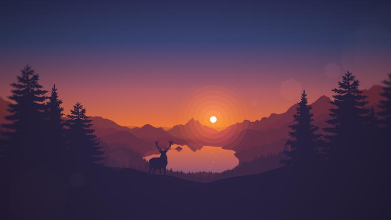 Lakeside, Sunset, Deer, Minimal art, Landscape, Scenic, Panorama, Wallpaper
