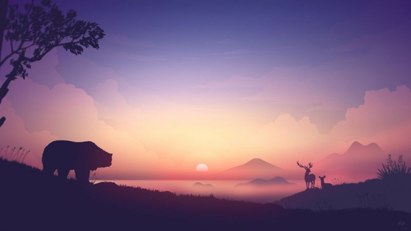 Sunrise, Landscape, Animals, Scenery, Gradient background, Bear, Deer, Early Morning, 5K, 8K, Wallpaper