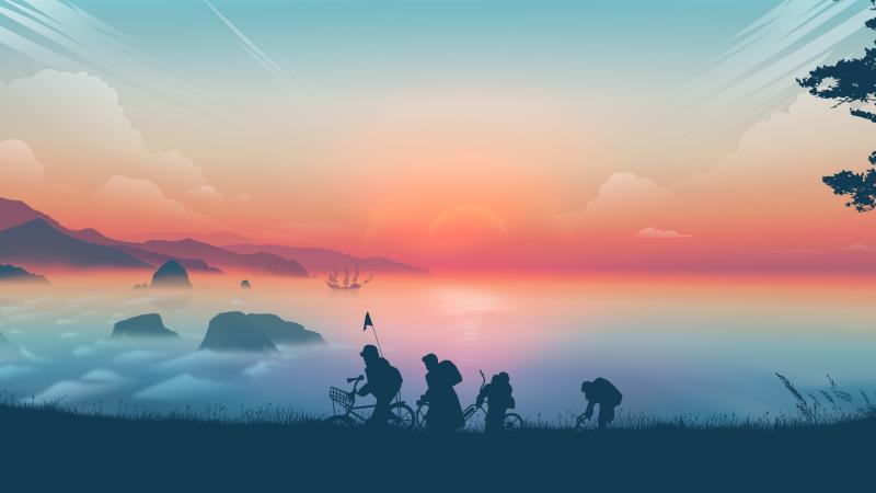 Goonies, Morning, Sunrise, Silhouette, Minimal art, Landscape, Panorama, Wallpaper