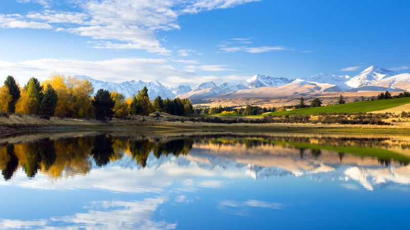 Mount Hutton, Lake, Landscape, Reflections, New Zealand, Wallpaper