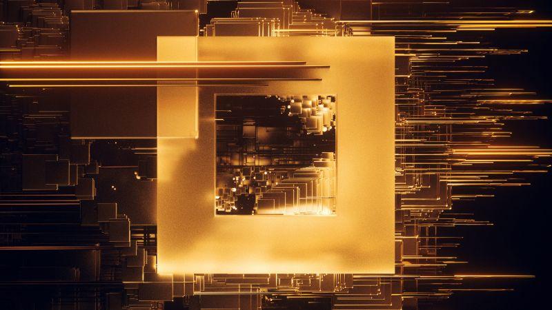 Square, Glitch, Golden, Wallpaper