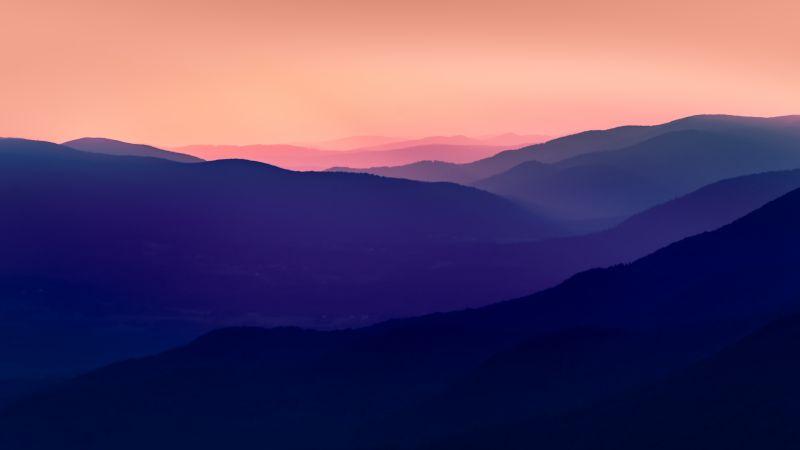 Bieszczady Mountains, Poland, Mountain range, Aerial view, Silhouette, Sunset, Dusk, Pink sky, Pattern, Landscape, Scenery, 5K, Wallpaper