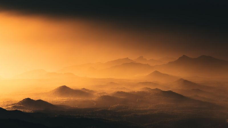 Montanas Negras, Spain, Volcano, Black mountains, Mountain range, Sunset, Aerial view, Landscape, Fog, 5K, Wallpaper