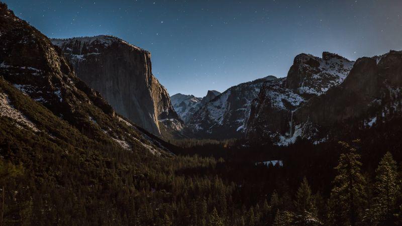 Alps mountains, Mountain range, Dusk, Landscape, Starry sky, Valley, Green Trees, Night time, Scenery, 5K, Wallpaper