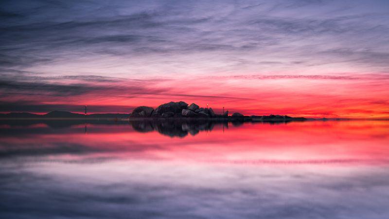 Sunset, Lake, Red Sky, Landscape, Scenery, Body of Water, Reflection, Evening, Cloudy Sky, Horizon, 5K, 8K, Wallpaper