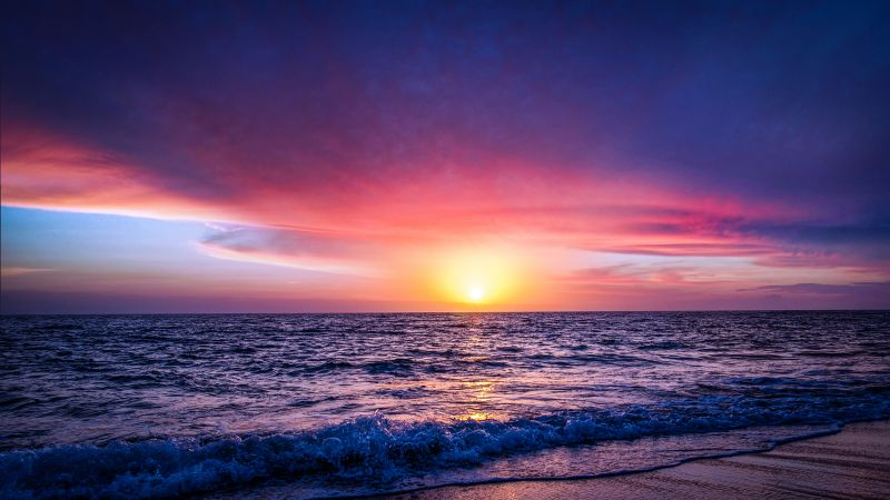 Seascape, Seashore, Sunset, Ocean Waves, Beach, Purple sky, Horizon, Reflection, Coastline, Landscape, Scenery, 5K, 8K, Wallpaper