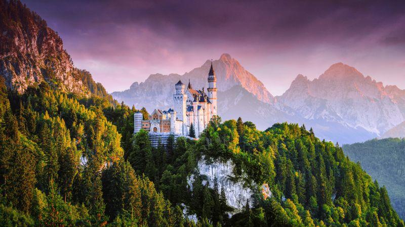 Neuschwanstein Castle, Germany, Fairy Castle, Ancient architecture, Mountain range, Sunset, Forest, Green Trees, Landscape, Scenic, Cloudy Sky, 5K, 8K, Wallpaper