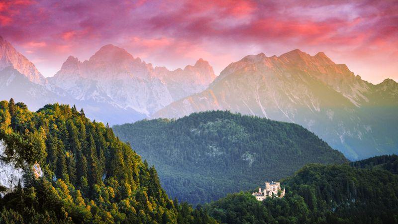 Allgäu, Germany, Landscape, Mountain Range, Neuschwanstein Castle, Aerial View, Pink sky, Sunset, Scenery, Green Trees, 5K, 8K, Wallpaper
