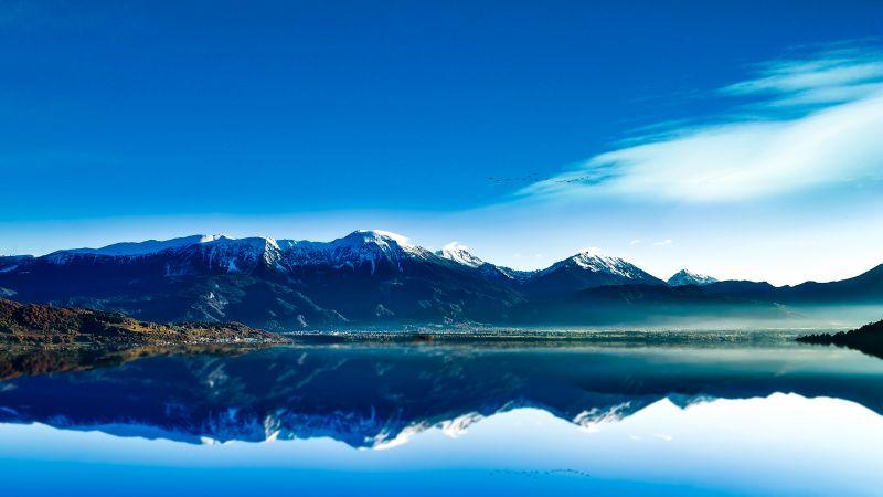 Glacier mountains, Lake, Sunrise, Blue Sky, Reflection, Mountain range, Snow covered, Clear sky, Landscape, Scenery, Fog, Early Morning, 5K, 8K, Wallpaper