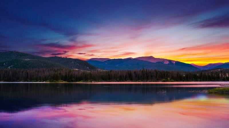 Sunset, Forest, Mountains, River, Body of Water, Reflection, Landscape, Scenery, Orange sky, 5K, 8K, Wallpaper