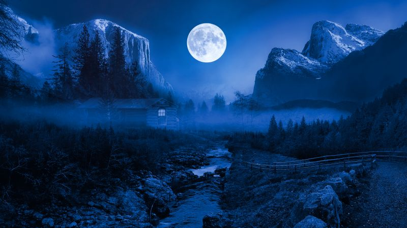 Twilight Moon, Night time, Landscape, Forest, Wooden House, Adventure, Camping, Water Stream, Mountain, 5K, 8K, Wallpaper
