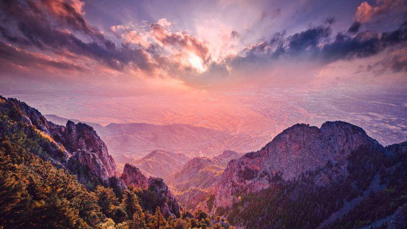 Mountain range, Sunset, Landscape, Cloudy Sky, Mountain Peaks, Aerial view, Scenic, Summit, 5K, 8K, Wallpaper