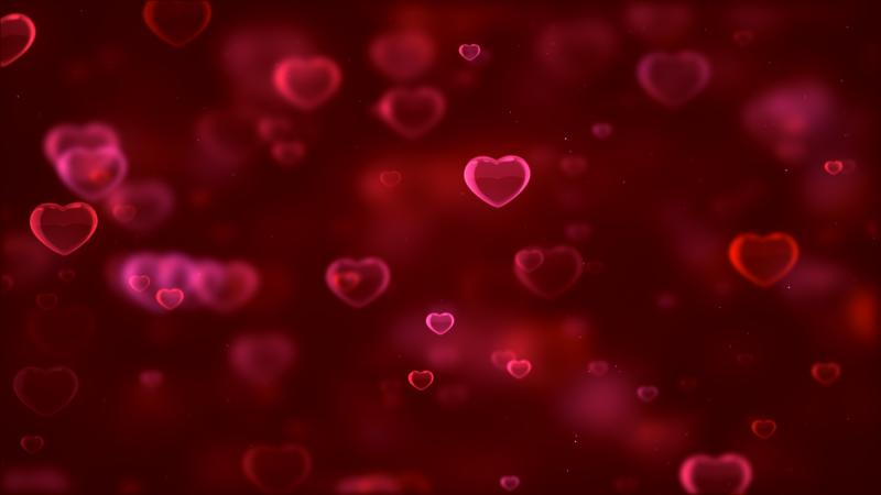 Red hearts, Bokeh, Red background, Blurred, Digital Art, Heart shape, Valentine's Day, Wallpaper