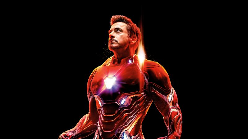 Iron Man, Avengers: Infinity War, Black background, 5K, 8K, Wallpaper