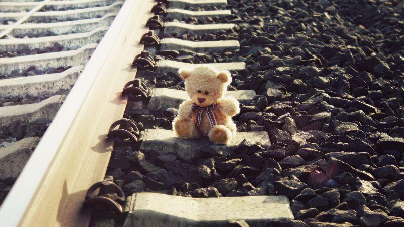 Teddy bear, Brown, Railway track, Pattern, Stones, Lonely, Cute toy, Wallpaper