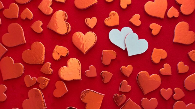 Red hearts, Heart shape, Red background, Pattern, Valentine's Day, Decoration, White heart, Aesthetic, 5K, Wallpaper