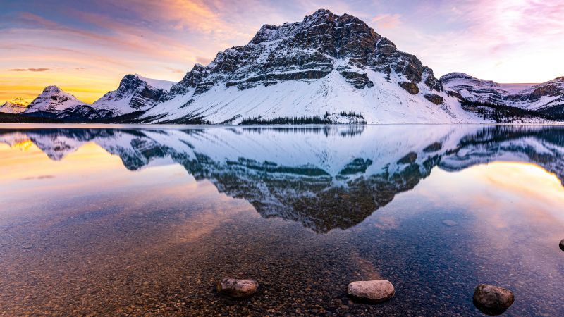 Bow Lake, Crowfoot Mountain, Canada, Banff National Park, Canadian Rockies, Glacier mountains, Mountain range, Landscape, Reflection, Scenery, Summit, Evening sky, Snow covered, 5K, Wallpaper