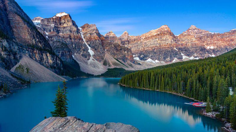 Moraine Lake, Turquoise water, Valley of the Ten Peaks, Mountain range, Sunrise, Blue Sky, Clear sky, Alpine trees, Landscape, Scenery, 5K, Wallpaper