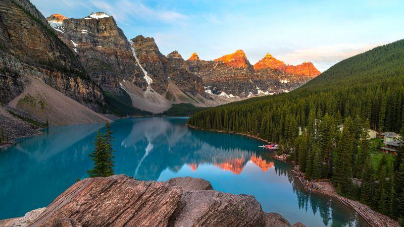 Moraine Lake, Valley of the Ten Peaks, Sunrise, Alpenglow, Alpine trees, Reflection, Landscape, Scenery, Mountain range, Blue Sky, Clear sky, 5K, Wallpaper