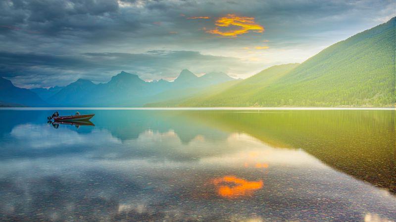 Lake McDonald, Glacier National Park, Montana, Sunrise, Golden hour, Mountain Range, Body of Water, Reflection, Cloudy Sky, Landscape, 5K, Wallpaper