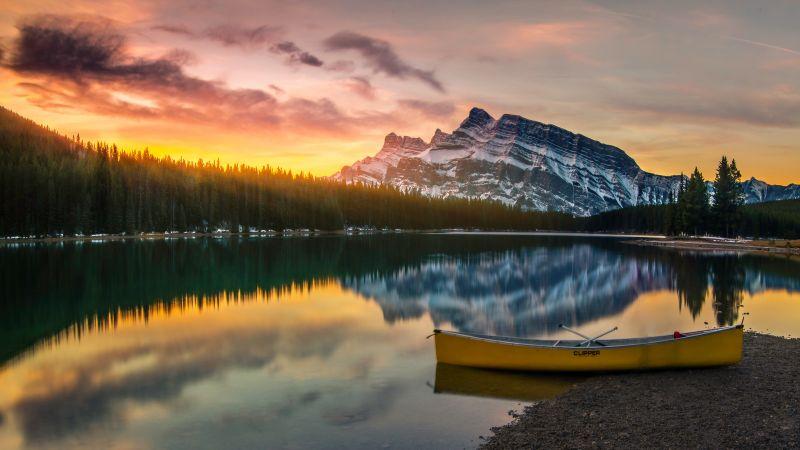 Two Jack Lake, Banff National Park, Alberta, Canada, Sunrise, Boat, Reflection, Glacier mountains, Snow covered, Alpine trees, Landscape, 5K, Wallpaper