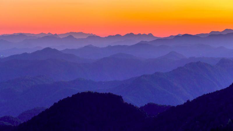 Blue Ridge Mountains, United States of America, Aerial View, Orange Sky, Foggy, Landscape, Beautiful, Appalachian Mountains range, 5K, Wallpaper
