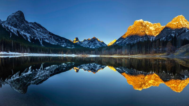 Wedge Pond, Banff National Park, Alberta, Canada, Clear Sky, Sunrise, Alpenglow, First light, Landscape, Scenery, Reflection, 5K, Wallpaper