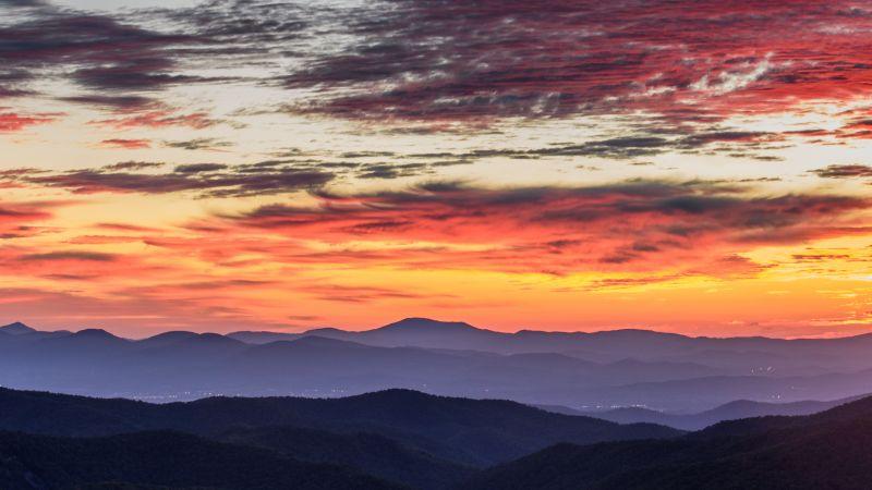 Blue Ridge Parkway, Blue Ridge Mountains, Aerial view, Sunrise, Orange sky, Cloudy Sky, Landscape, Mountain range, 5K, Wallpaper