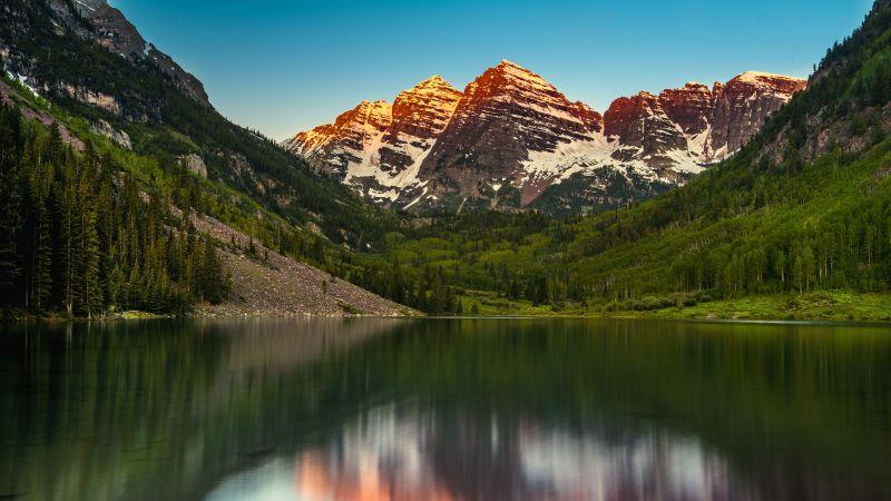 Maroon Bells, Elk Mountains, Colorado, United States, Maroon Lake, Alpenglow, Glacier mountains, Landscape, Scenery, Reflection, Blue Sky, Clear Sky, 5K, Wallpaper