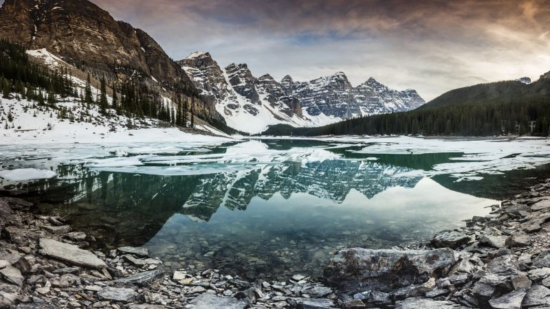 Mountain lake, Mountain range, Reflection, Landscape, Snow covered, Winter, Dusk, Scenery, 5K, 8K, Wallpaper