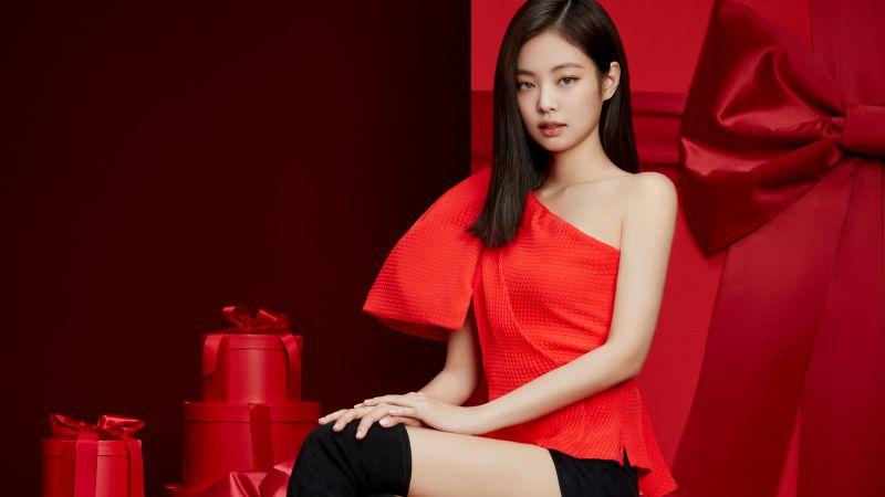Jennie, Blackpink, K-Pop singer, Red background, 5K, Wallpaper