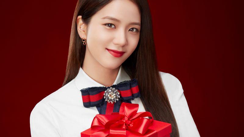 Rose, Blackpink, K-Pop singer, Red background, 5K, Wallpaper