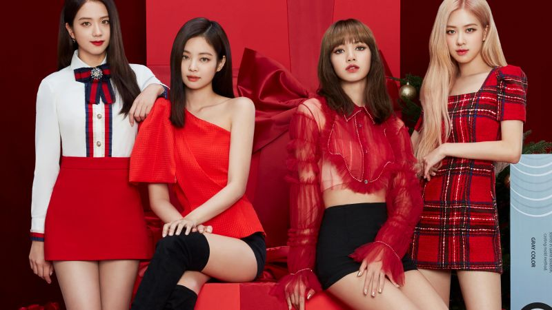 Blackpink, Jisoo, Jennie, Rose, Lisa, K-Pop singers, Red background, 5K, Wallpaper