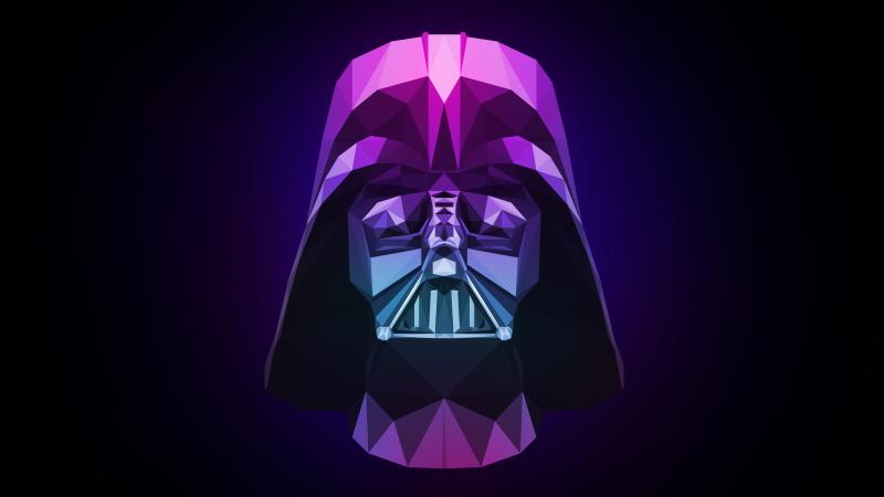 Darth Vader, Low poly, Artwork, Dark background, Purple, Wallpaper